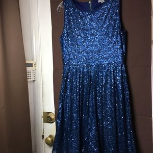 ISSI Sequin Pleated A-line Formal Dress